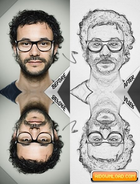 450x594 Pencil Drawing Effect Photoshop Action Free Download Free