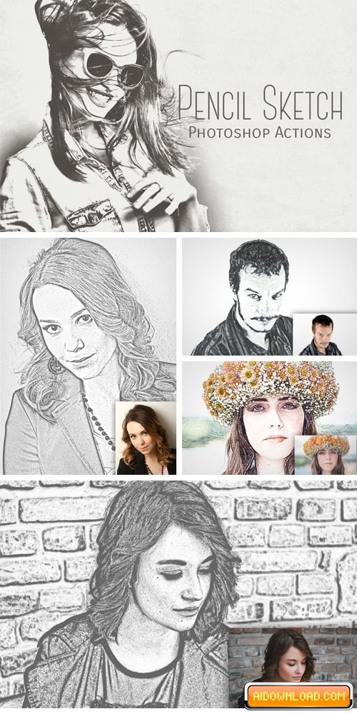 500x1000 Pencil Sketch Art Photoshop Action Free Download Free Graphic