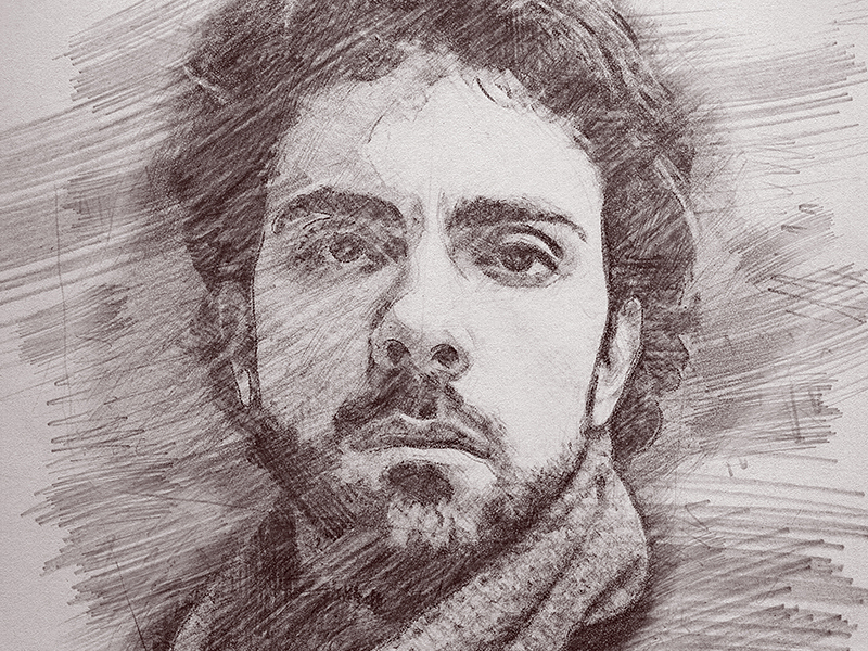 800x600 pencil sketch photoshop action by eugene design