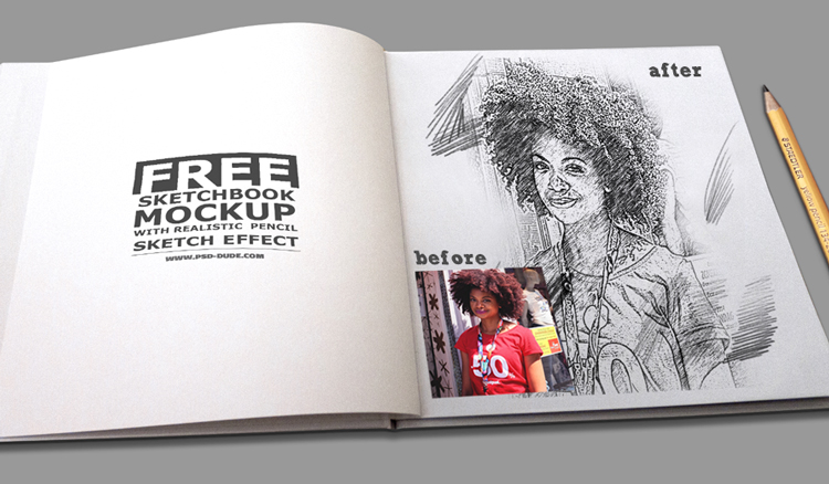 750x438 Sketchbook Mockup With Realistic Pencil Sketch Photoshop Effect