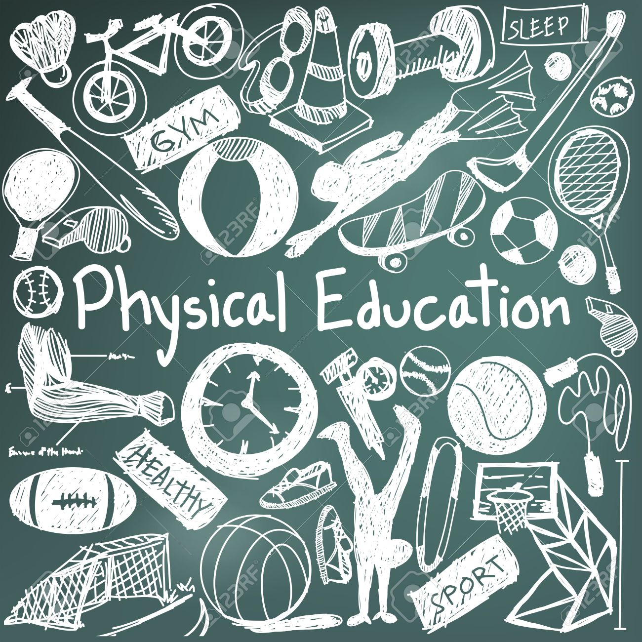 1300x1300 Physical Education Exercise And Gym Education Chalk Handwriting