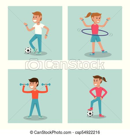 450x470 Set Kids Practicing Sport Physical Education School Vector