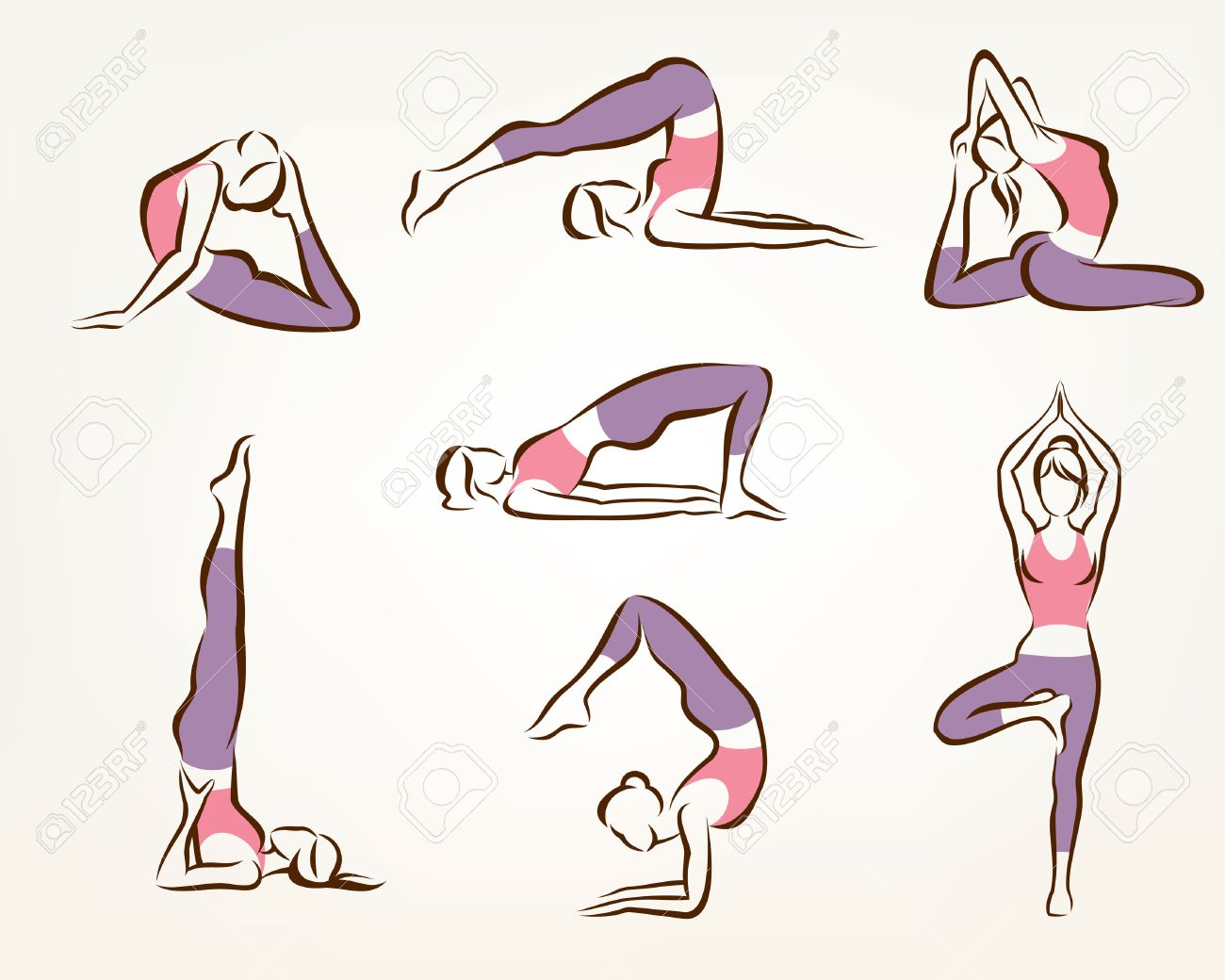 1300x1040 Set Of Yoga And Pilates Poses , Stylized Vector Symbols, Health