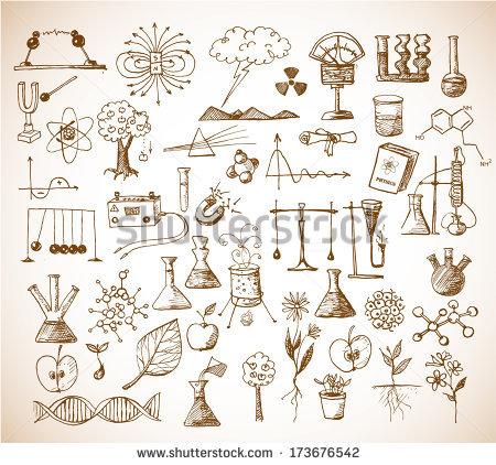 450x422 Back To School Big Doodles Set. Physics, Chemistry, Biology. Hand