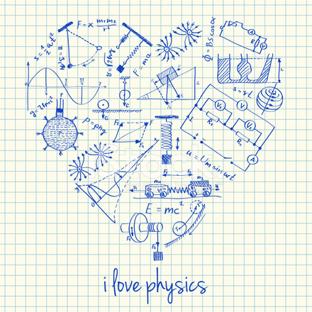 440x440 Physics Drawings In Heart Shape Stock Vector