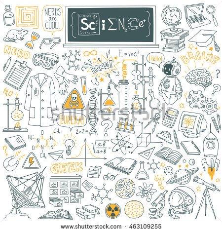 450x470 Science Stuff Doodle Set. Biology, Mathematics, Astronomy, Robotic
