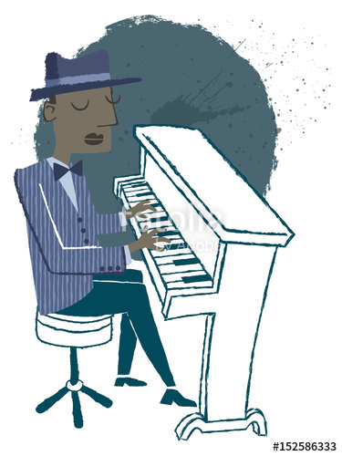 375x500 Jazz Pianist. Retro Style Illustration Of A Man Playing The Piano