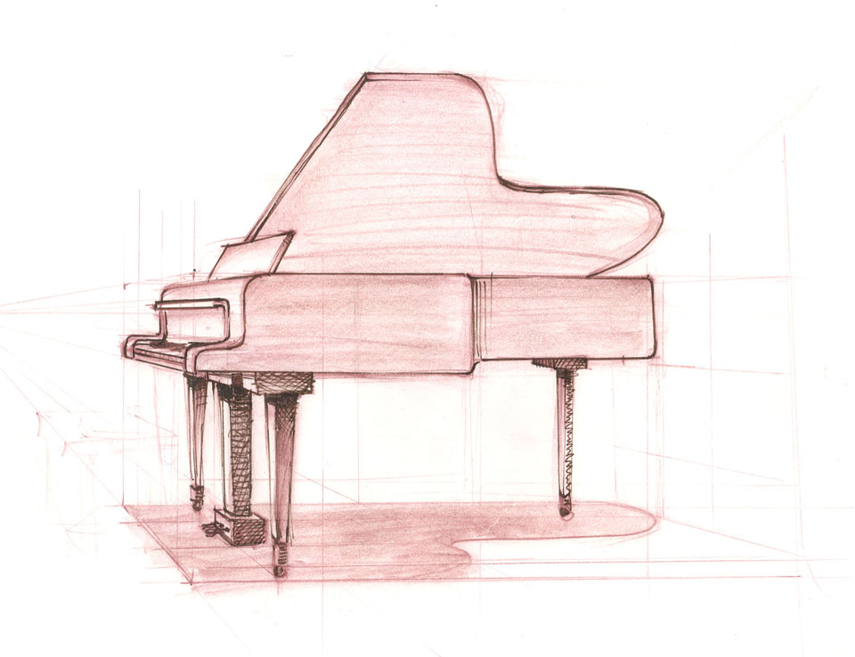 960x738 Grand Piano Sketch More Perspective In Piano Sketching I Got