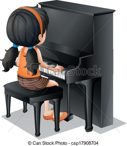 409x470 Illustration Of A Young Girl Playing With The Piano On A Vector