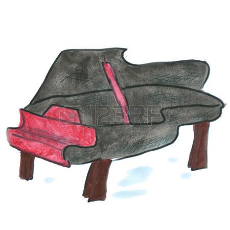 450x450 Pink Piano Cartoon Watercolor Isolated Handmade Stock Photo