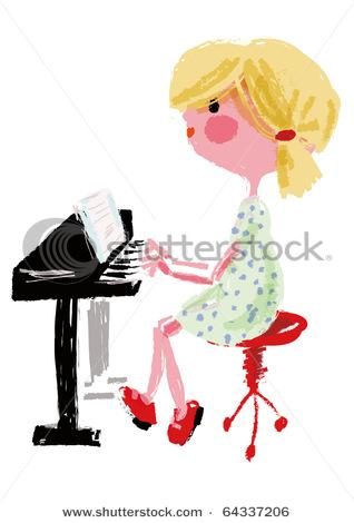 318x470 Playing Piano Cartoon Drawing