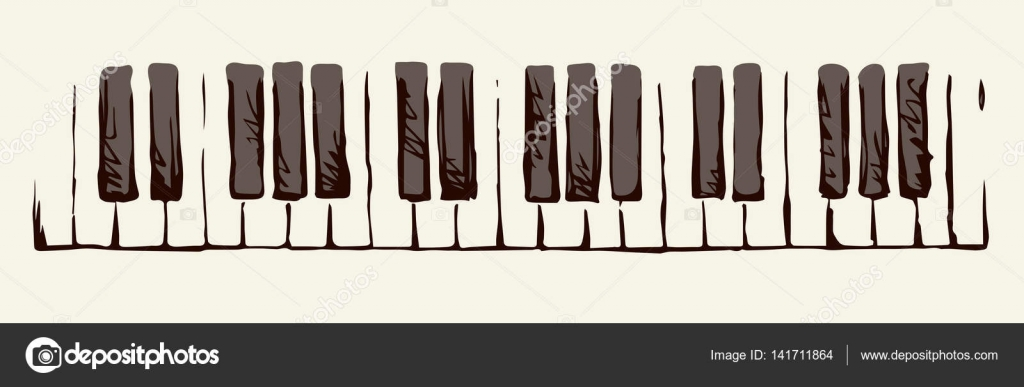 1024x387 Piano Keys. Vector Drawing Stock Vector Marinka