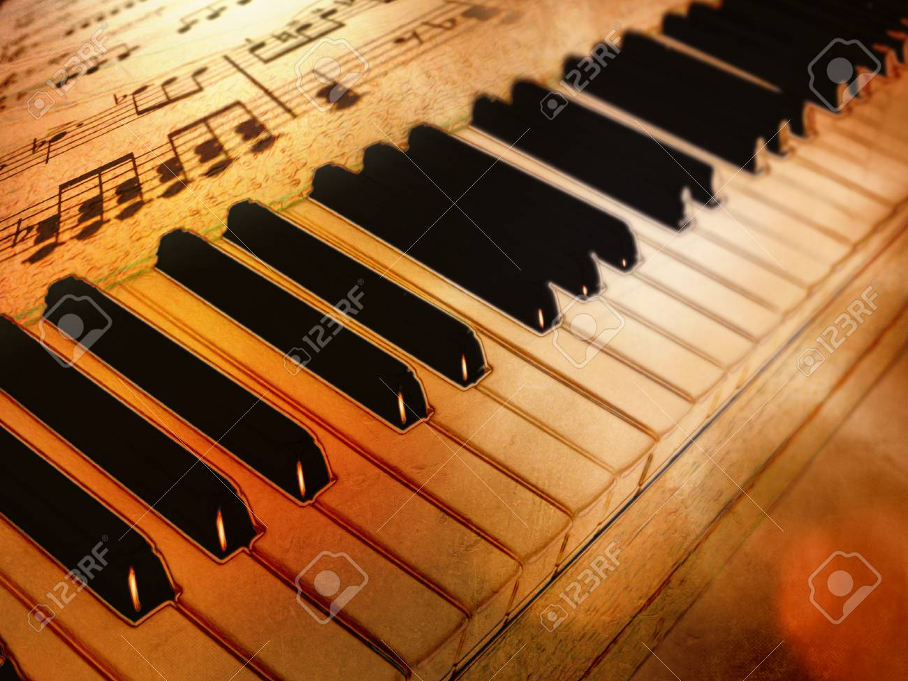 1300x975 Vintage Piano Keys And Sheet Music With Drawing Effect Stock Photo