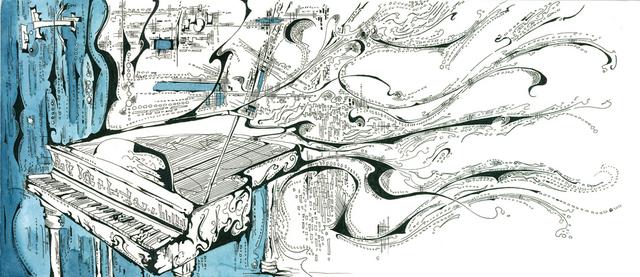 640x277 Antony Hollums Artwork Grand Piano Original Drawing Pen Music Art