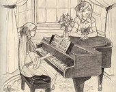 170x135 Items Similar To Piano Lessons Original Pencil Drawing On Etsy