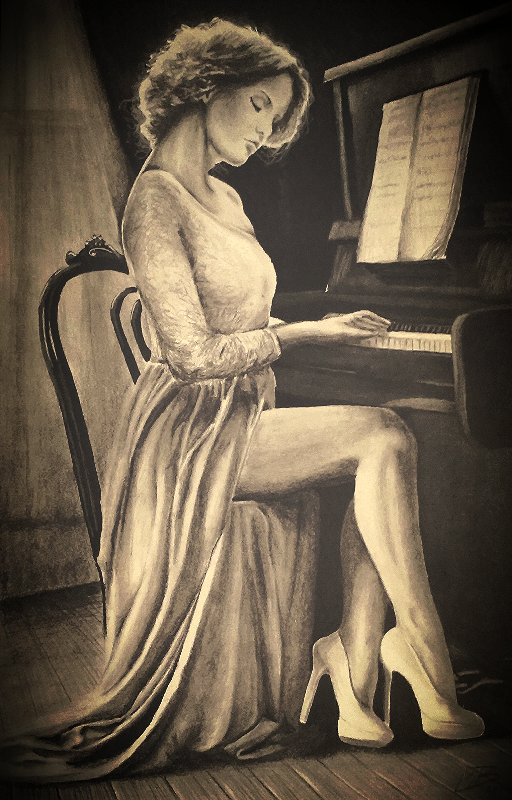 512x800 Mbpiano Lesson Pencil Drawing By Martonblack