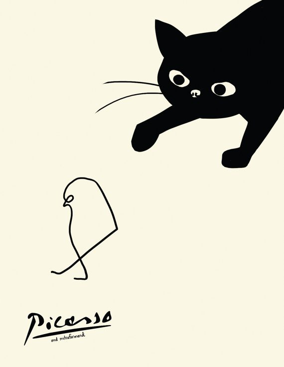 570x736 Black Cat Cards 3 Picasso Card Cat Stalking Bird Card
