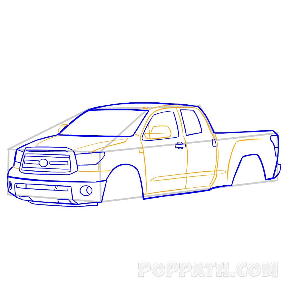1000x1000 How To Draw A Pickup Truck Pop Path