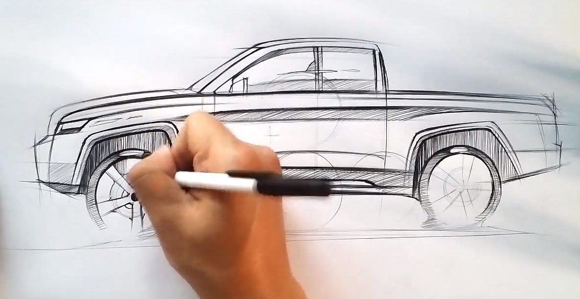 1186x611 How To Draw A Pickup Truck