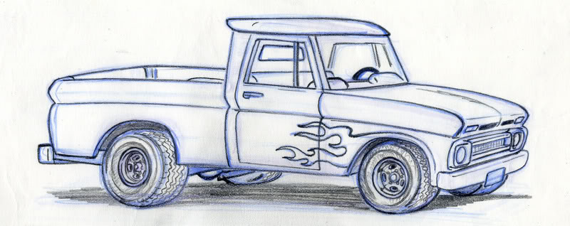 800x318 Pickup Truck Sketch Images