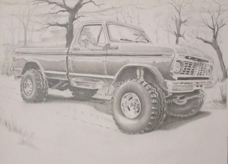 900x646 1977 Ford F250 Pick Up 4 X 4 Drawing By Russell Boothe
