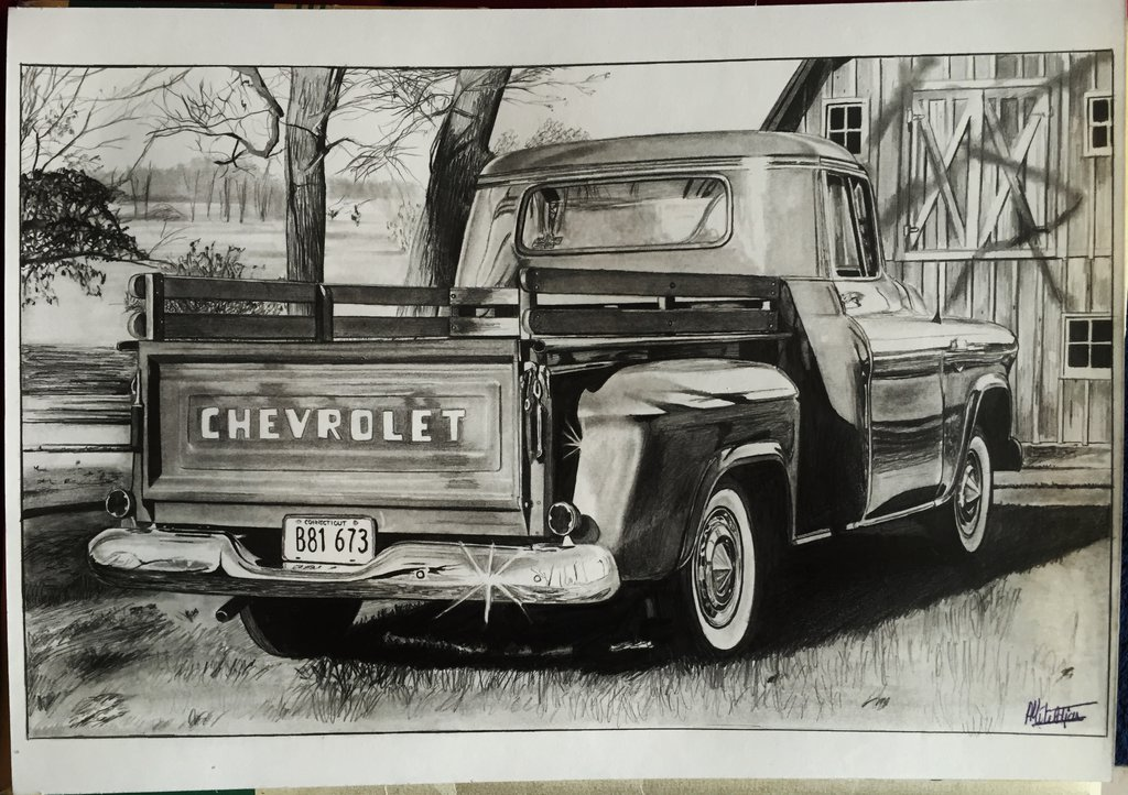 1024x722 Chevy Pick Up Drawing By Alainmi
