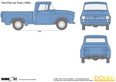400x283 Ford Pick Up Truck Vector Drawing