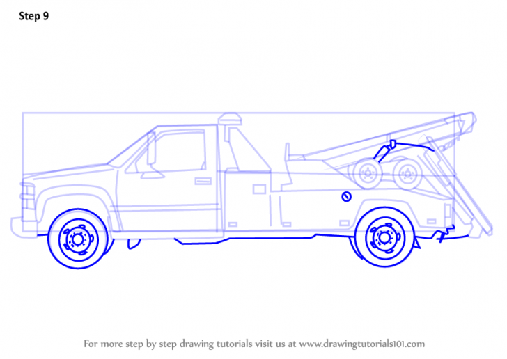 728x516 How To Draw A Tow Truck Step By Step