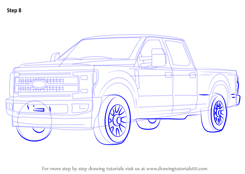 844x598 Learn How To Draw Ford F350 (Trucks) Step By Step Drawing Tutorials