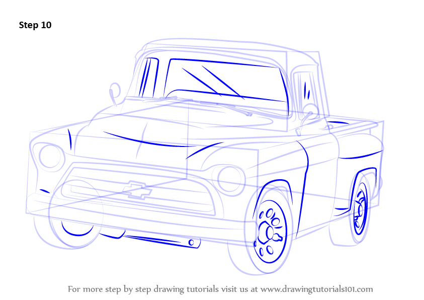 843x596 Learn How To Draw A 1955 Chevy Truck (Trucks) Step By Step