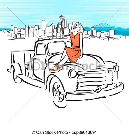 450x470 Pickup And Girl In Front Of Seattle Panorama, Vector Outline