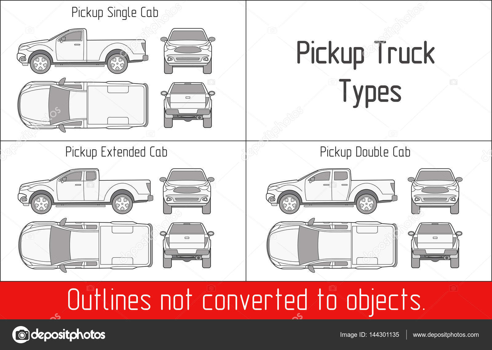 1600x1141 Truck Pickup Types Template Drawing Vector Outlines Not Converted