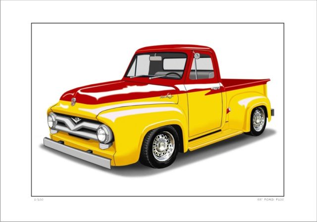 640x448 Ford 55' F100 Pick Up Truck Ute Limited Edition Car Drawing Print