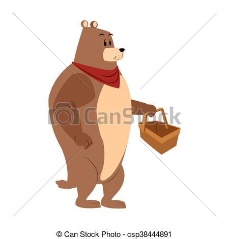 450x470 Bear Picnic Basket Draw Isolated Vector Illustration Eps Vectors