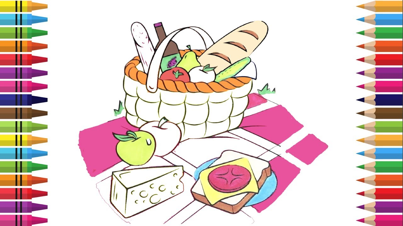 1280x720 How To Draw A Picnic Basket, Food Book Coloring