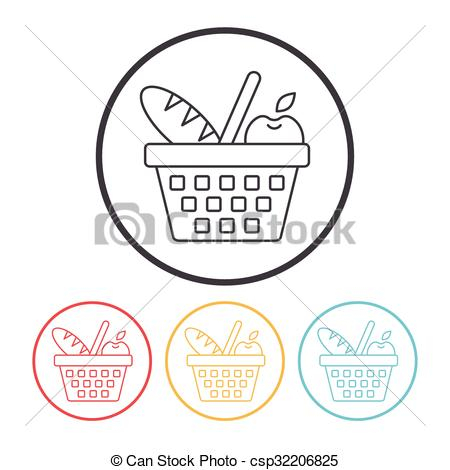 450x470 Picnic Basket Line Icon Vector Illustration