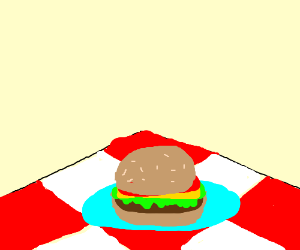300x250 A Burger On A Plate,on Top Of A Picnic Blanket (Drawing By Grumpybat)