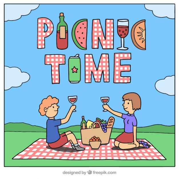 626x626 Hand Drawn Couple In A Picnic Background Vector Free Download