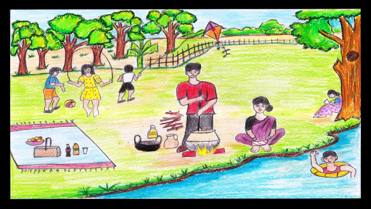 1280x720 How To Draw A Picnic Scenery Step By Step Easily