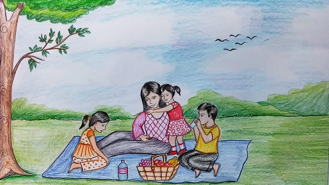 1280x720 How To Draw Scenery Of Family Picnic Step By Step