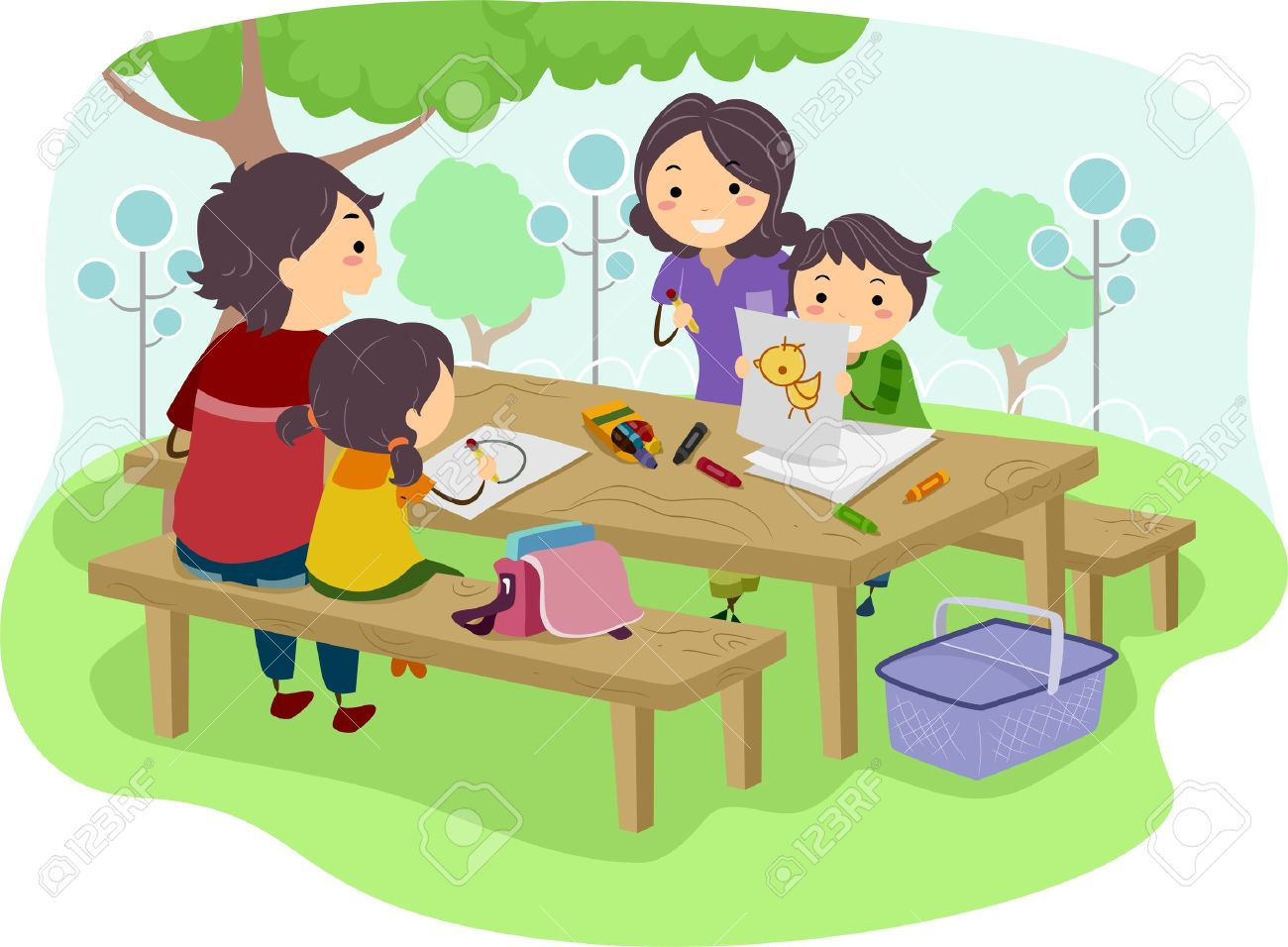 1300x956 Illustration Of A Family With Kids Drawing While Having Their