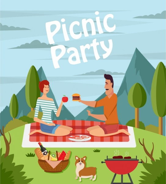 543x600 Picnic Party Drawing Couple Icon Colored Cartoon Design Free