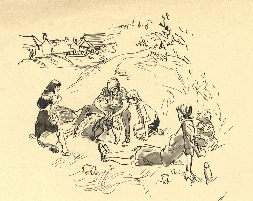1024x816 Louis Valentine, Picnic Scene With Children