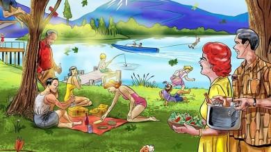390x219 Summer Fun Family Picnic Retro Style Cartoon