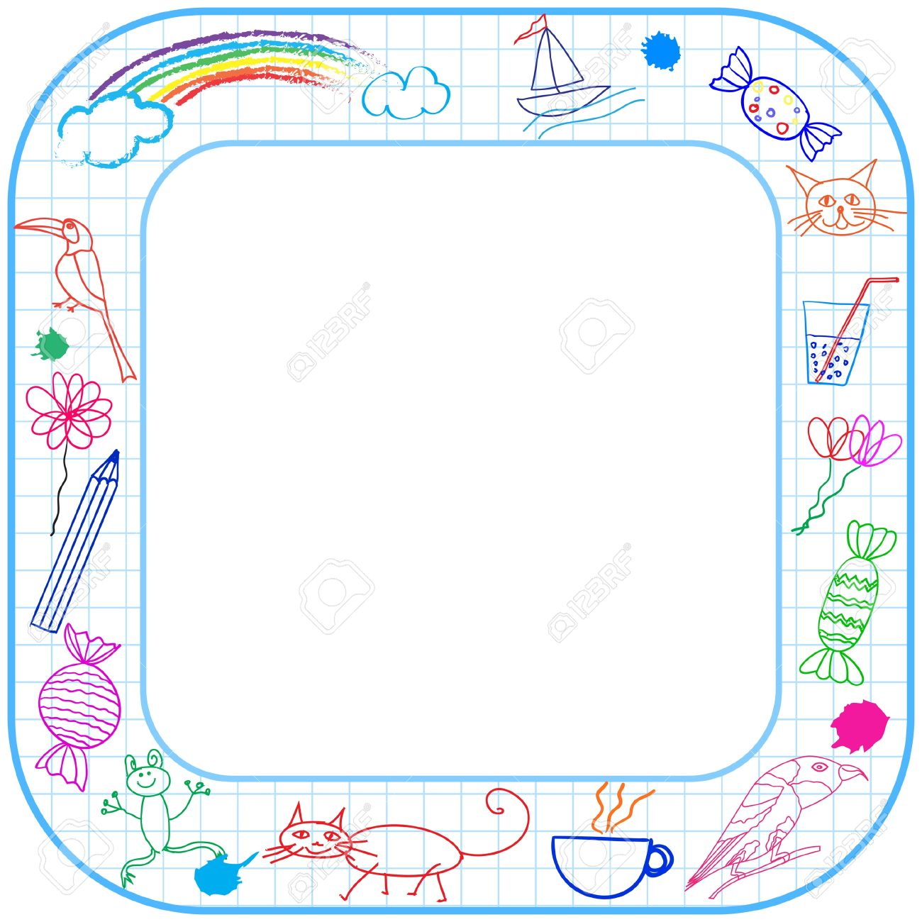 1300x1300 Square Border Frame With Round Corner And Child Drawing On Paper