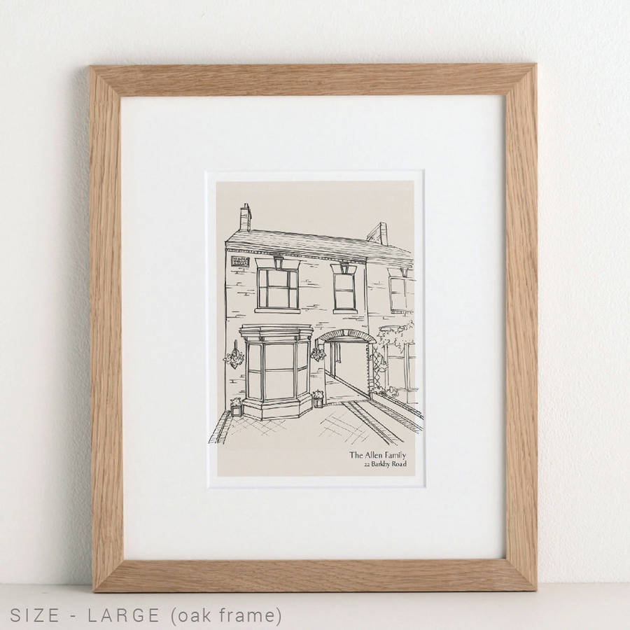 900x900 Hand Drawn Bespoke House Sketch By Letterfest