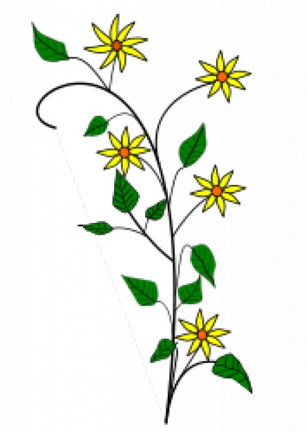 443x626 Simple Yellow Flowers Drawing With White Background Vector Free