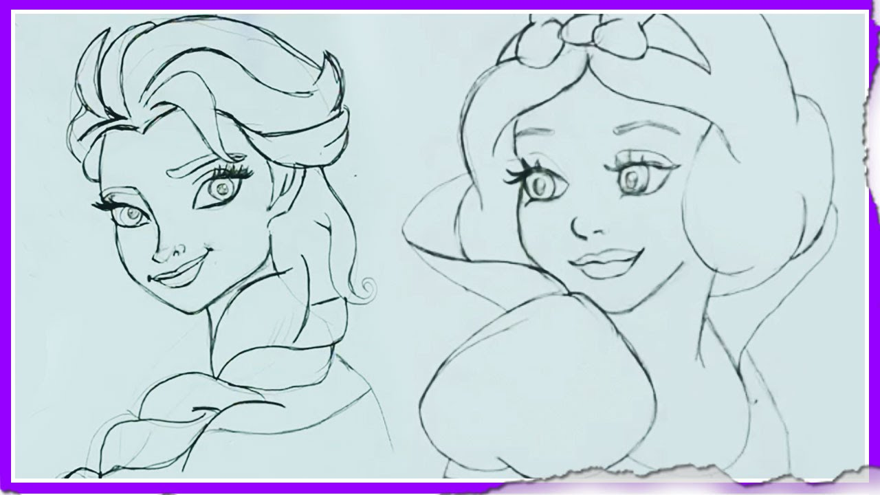 1280x720 How To Draw Disney Princesses Drawing Tutorial Cartoon