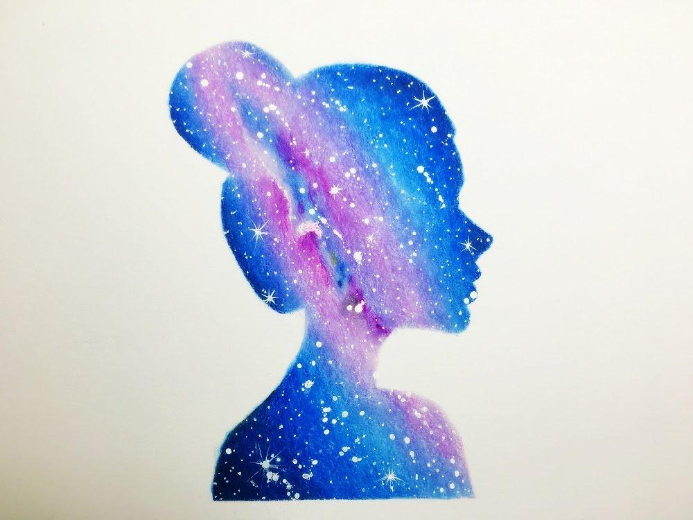 1000x750 Double Exposure Galaxy Girl Drawing