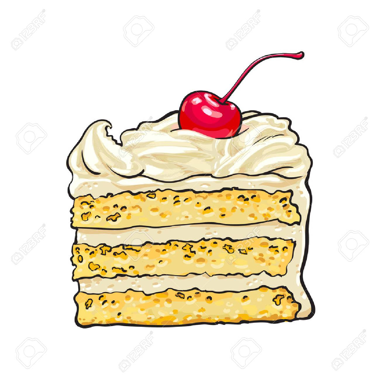 1300x1300 Hand Drawn Piece Of Classic Layered Cake With Vanilla Cream